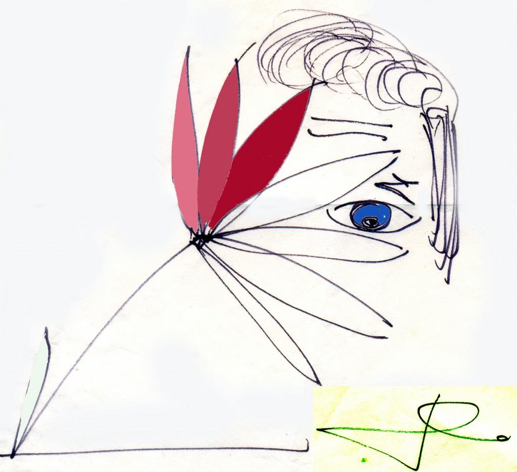 este desenho é do próprio Domingos, espécie de assinatura que ele utiliza frequentemente